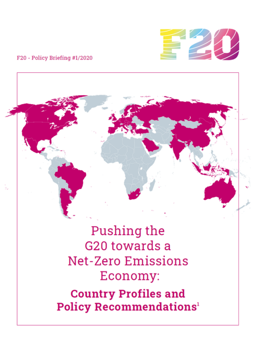 F20 Policy Briefing #1/2020 – Pushing the G20 towards a Net-Zero Emissions Economy: Country Profiles and Policy Recommendations