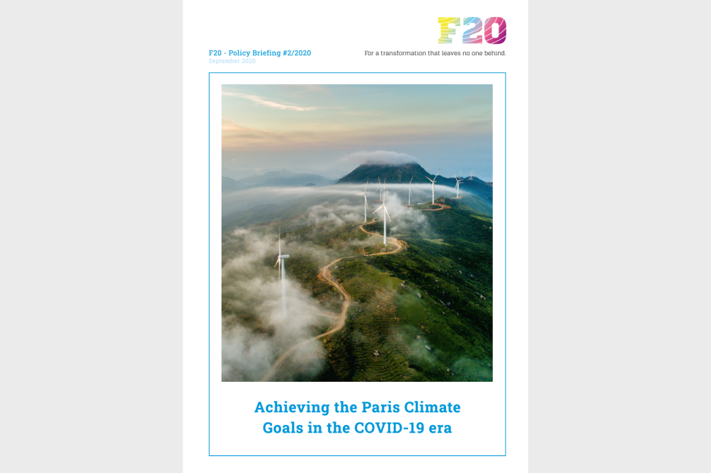F20 Policy Briefing #2 – Achieving the Paris Climate Goals in the COVID-19 era