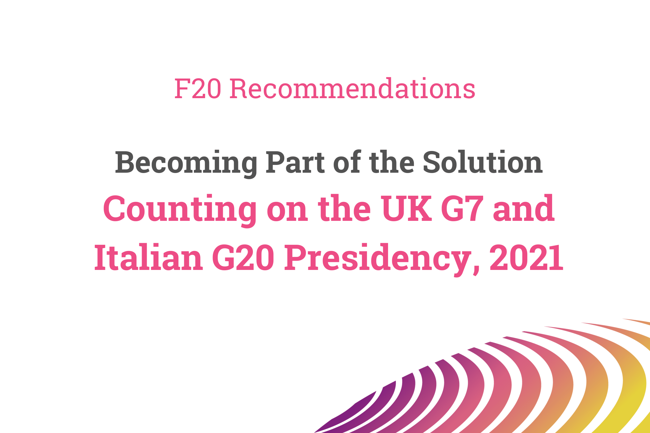 F20 Recommendations to the G7 & G20