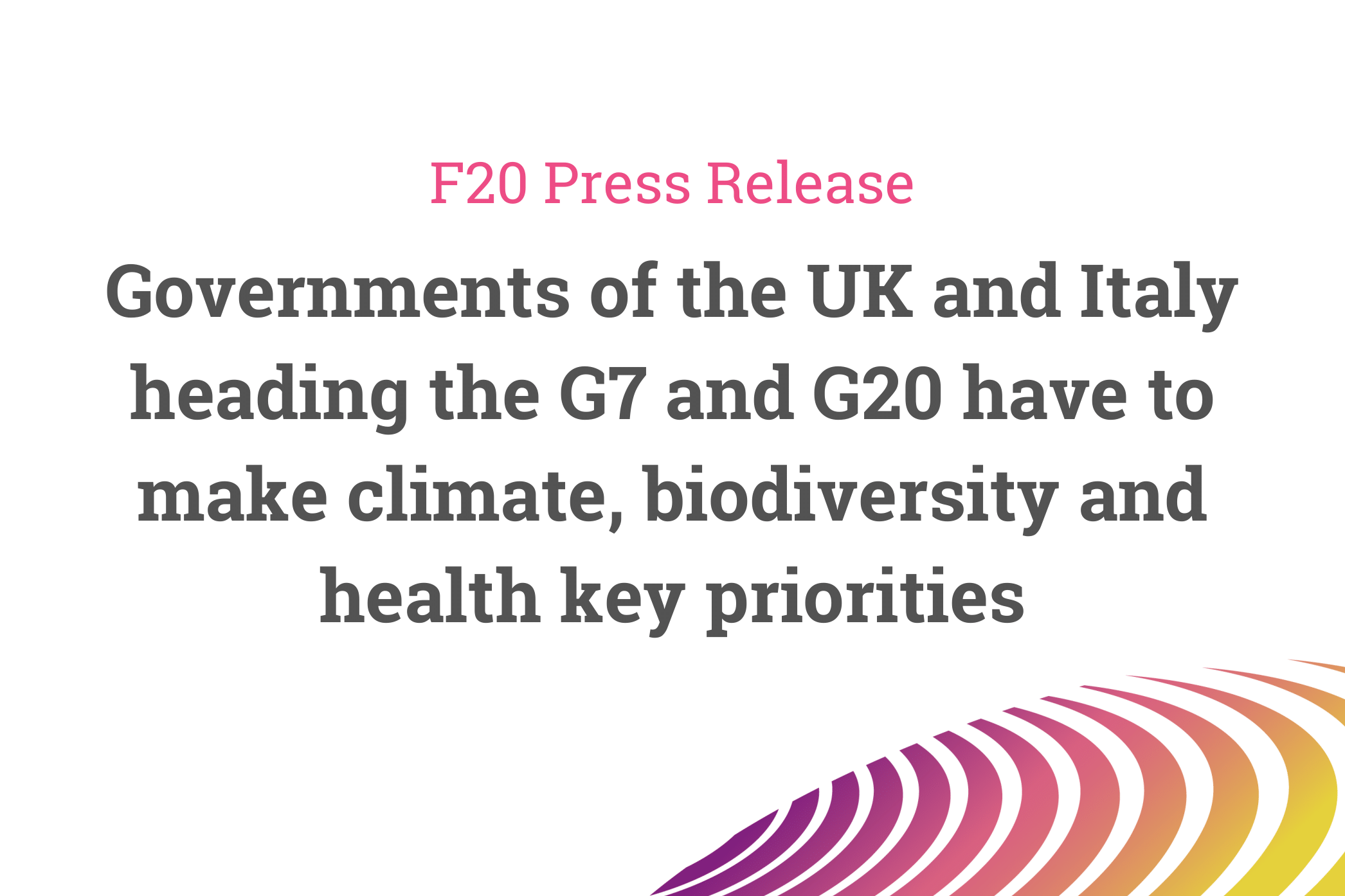 Joint Letter to the G7 and G20 – Press Release of the Foundations Platform F20